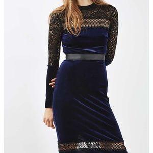 NWT Topshop velvet lace dress US 6 TALL